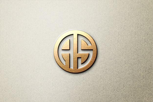 Maqueta de logotipo 3d de papel marrón sobre hormigón