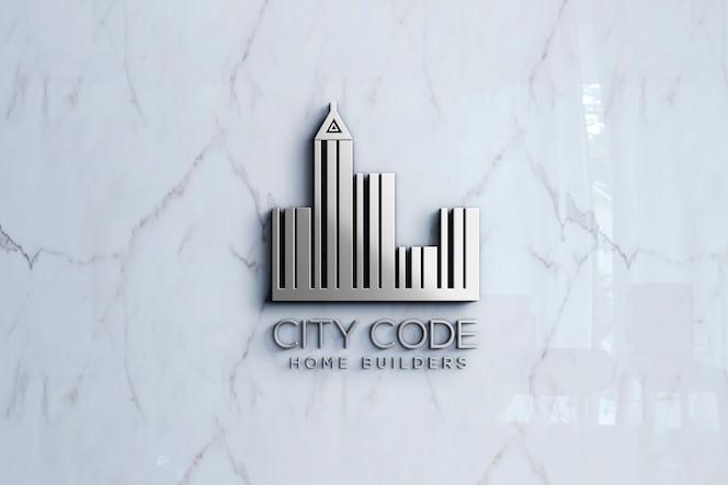 Maqueta de logotipo 3d en pared de mármol