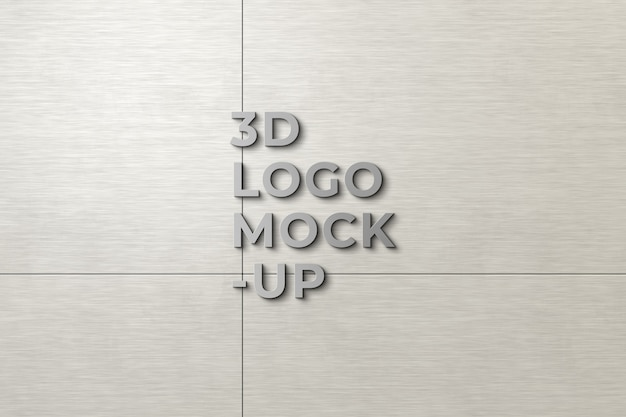 Maqueta de logotipo 3d en la pared