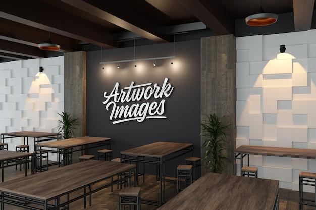 Maqueta de logotipo 3d plateado en la pared de la decoración del restaurante