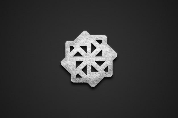 Maqueta de logotipo 3d plateado