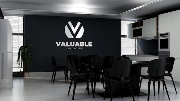 Maqueta de logotipo 3d en la sala de cocina de la oficina