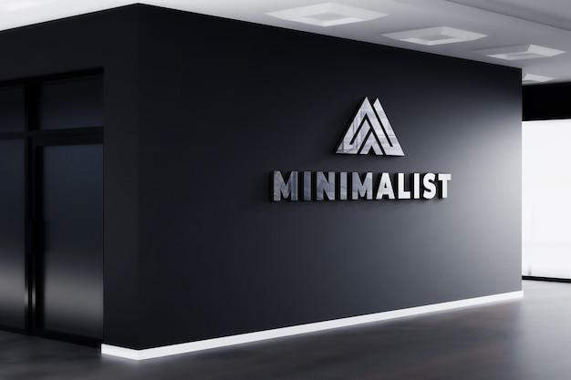 Maqueta de logotipo 3d signo realista oficina pared negra