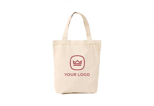 Maqueta de logotipo de bolso tote de algodón