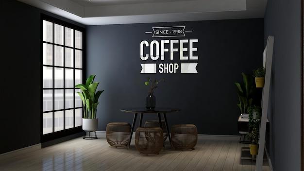 Maqueta de logotipo de cafetería en mesa y silla modernas