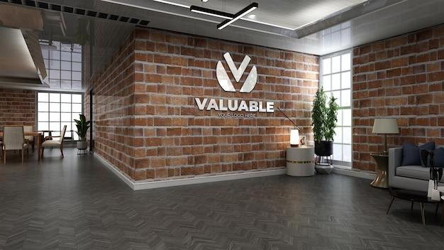 Maqueta de logotipo de cafetería realista en cafetería o restaurante con pared de ladrillo