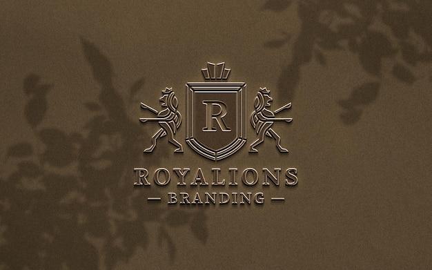 Maqueta de logotipo de cobre en relieve