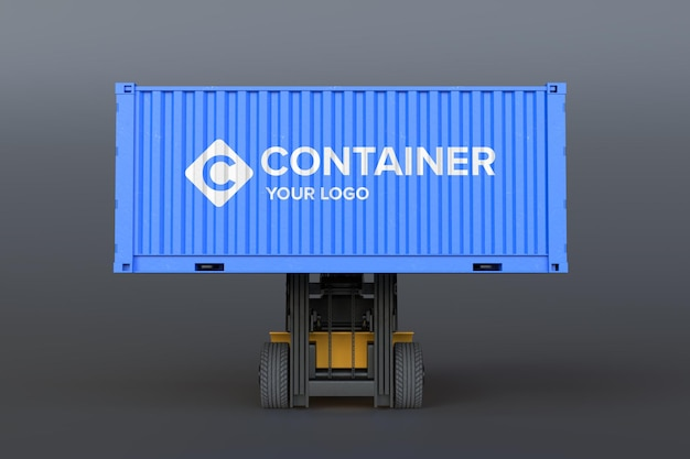 Maqueta de logotipo en contenedor de carga