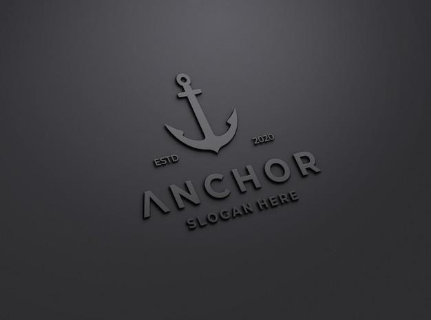 Maqueta de logotipo de doff en relieve en pared negra