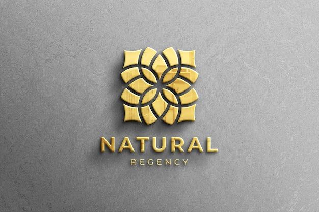 Maqueta de logotipo dorado brillante de empresa 3d realista con reflejo