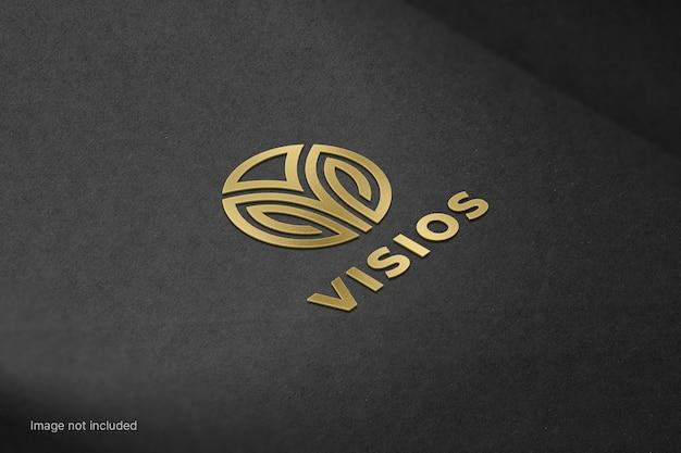 Maqueta de logotipo dorado metálico