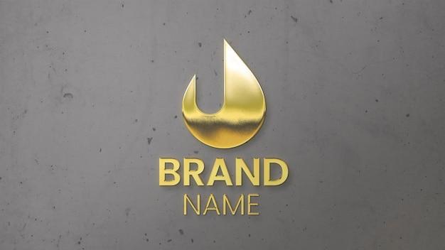 Maqueta de logotipo dorado en la pared