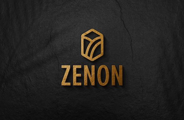 Maqueta de logotipo dorado en relieve 3d en pared de superficie negra