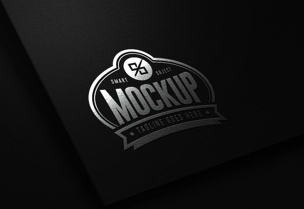 Maqueta de logotipo editable moderno de lujo en negro y plata