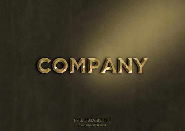 Maqueta de logotipo con efecto de texto metálico dorado