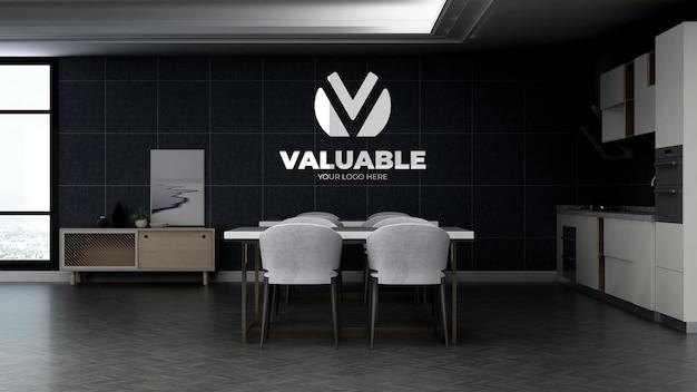 Maqueta del logotipo de la empresa 3d en el área de la despensa de la oficina