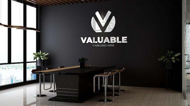 Maqueta del logotipo de la empresa 3d en el diseño de interiores de la sala de reuniones de la oficina temática de madera
