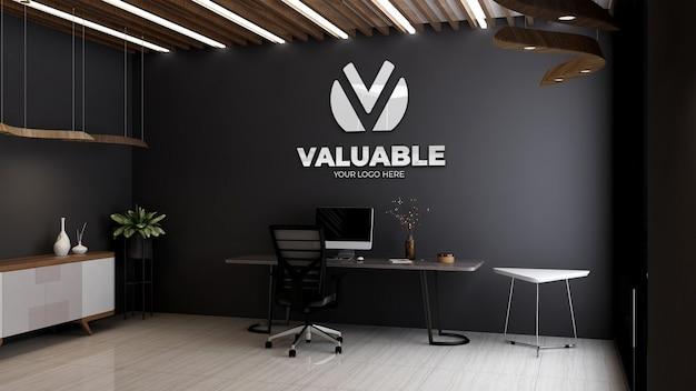 Maqueta del logotipo de la empresa 3d en la sala del gerente o jefe de oficina con mesa y silla