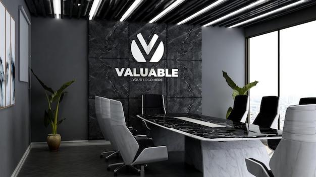 Maqueta del logotipo de la empresa 3d en la sala de reuniones de la oficina de lujo