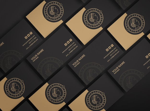 Maqueta de logotipo de empresa oscura de lujo