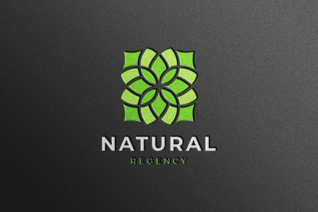 Maqueta de logotipo de empresa realista en papel artesanal negro