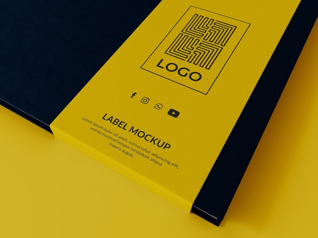Maqueta de logotipo de etiqueta de libro 3d render
