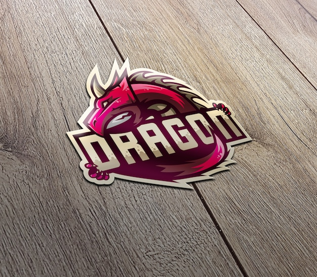 Maqueta de logotipo de etiqueta de perspectiva 3d