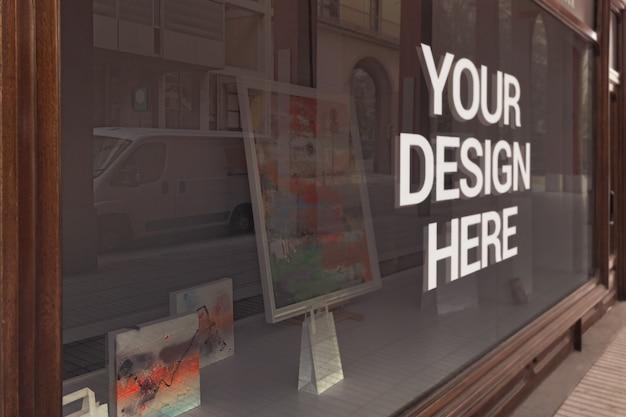 Maqueta del logotipo de la galería de vidrio