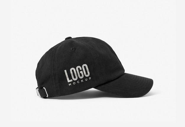 Maqueta de logotipo lateral de gorra negra plantilla de presentación de marca de maquetas de logotipo deportivo psd