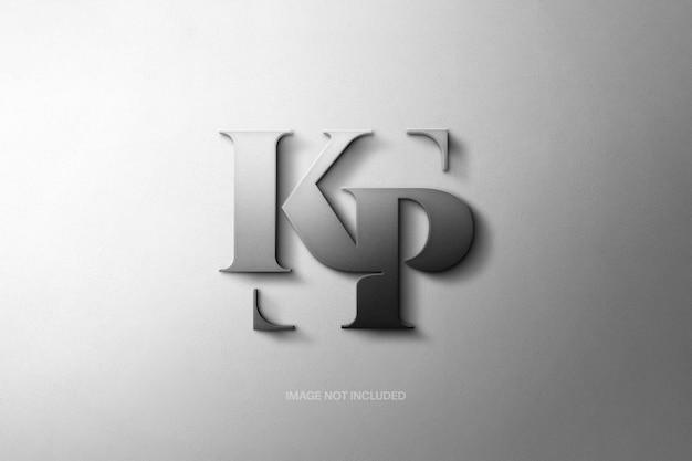 Maqueta de logotipo de letras mate metálico
