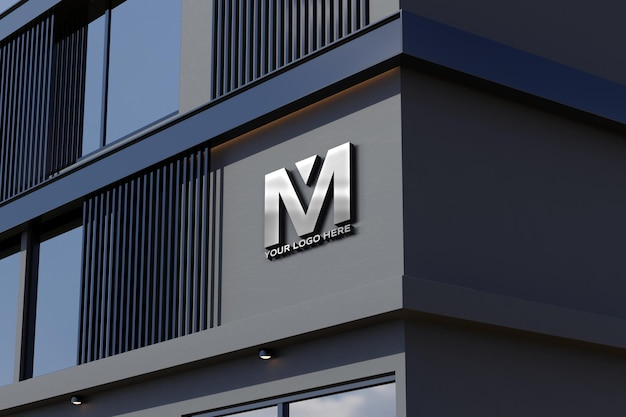 Maqueta de logotipo en letrero de edificio de oficinas de tienda de fachada negra
