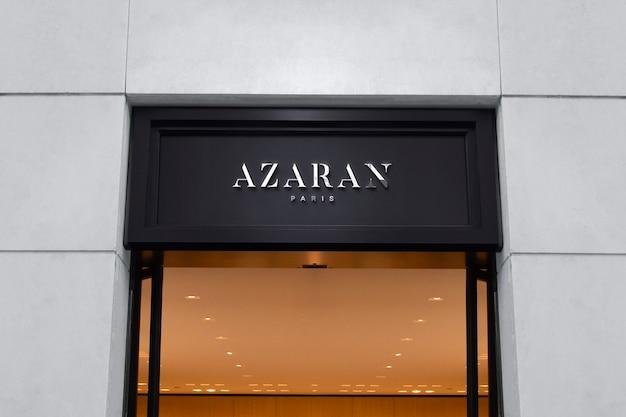 Maqueta de logotipo letrero de fachada negra de lujo