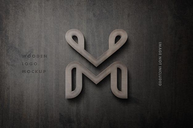 Maqueta de logotipo de letrero de madera 3d