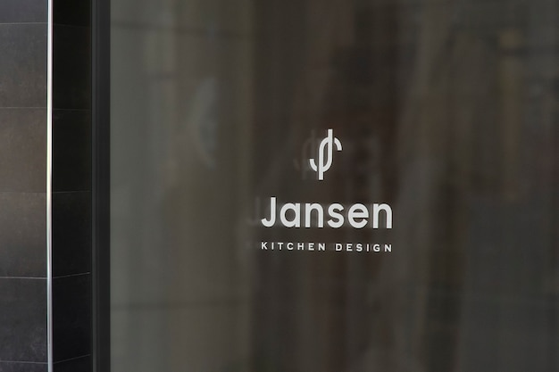 Maqueta de logotipo de letrero de ventana de diseño de cocina