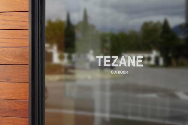 Maqueta de logotipo letrero de ventana pared de madera