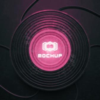 Maqueta de logotipo con luces brillantes