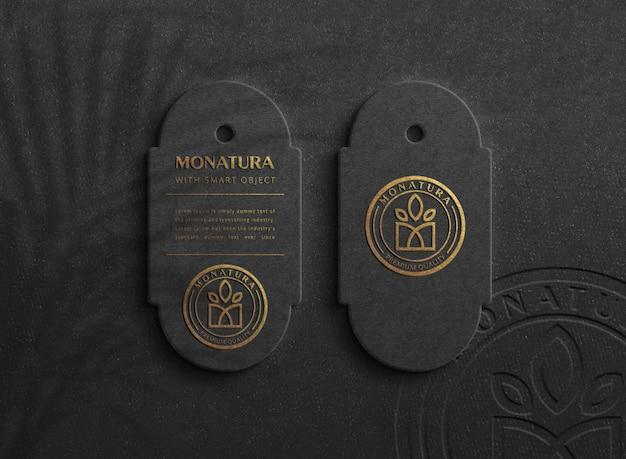 Maqueta de logotipo de lujo en etiqueta oscura