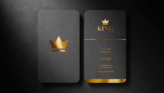 Maqueta de logotipo de lujo tarjeta de visita negra sobre fondo negro