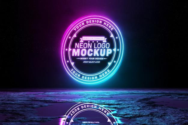 Maqueta de logotipo de luz de neón reflectante rosa y azul