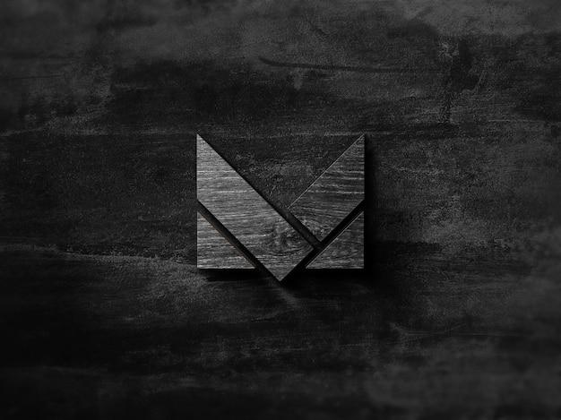 Maqueta de logotipo de madera negra 3d