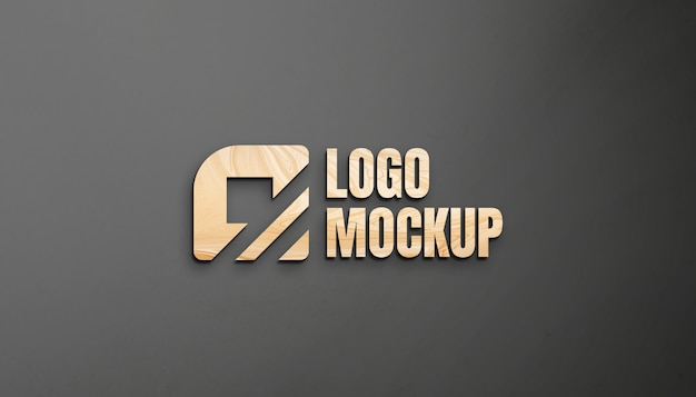 Maqueta de logotipo de madera en pared hd
