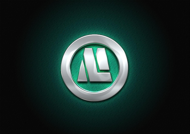 Maqueta de logotipo de metal 3d