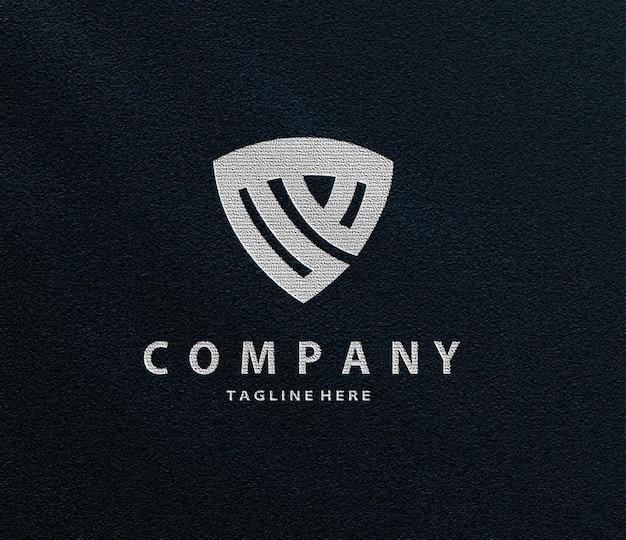 Maqueta de logotipo metálico en relieve de lujo