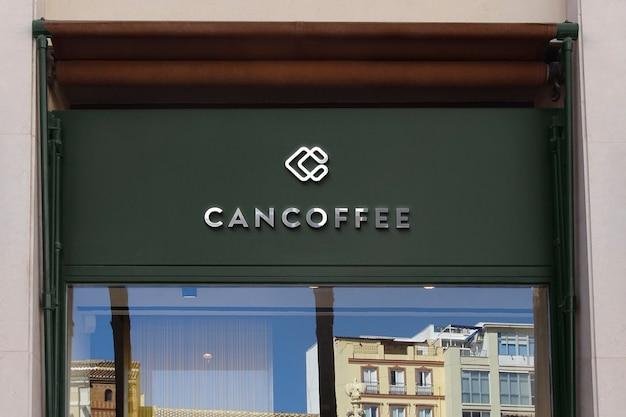 Maqueta de logotipo moderno letrero de fachada verde oscuro
