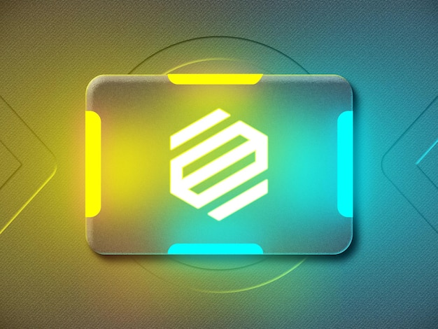 Maqueta de logotipo de neón 3d con luz de neón reflectante amarilla y azul