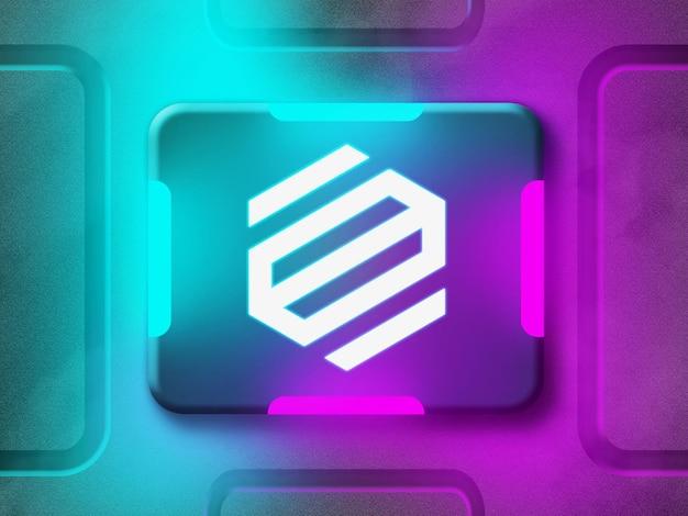 Maqueta de logotipo de neón 3d con luz de neón reflectante azul y púrpura