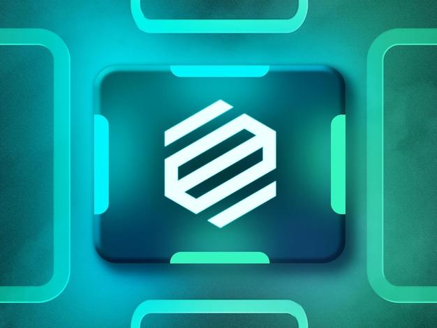 Maqueta de logotipo de neón 3d con luz de neón reflectante azul