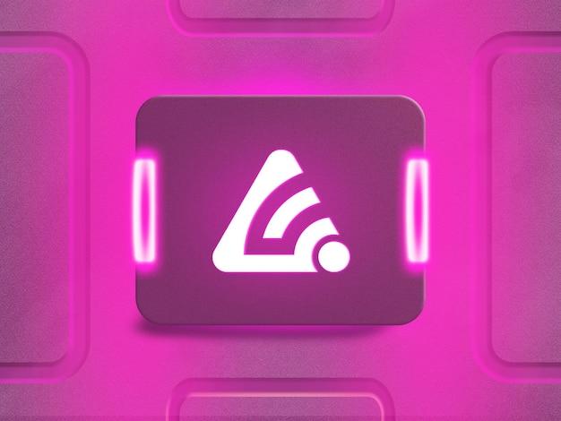 Maqueta de logotipo de neón 3d con luz de neón reflectante rosa