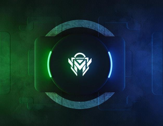 Maqueta de logotipo de neón 3d con luz de neón reflectante verde y azul