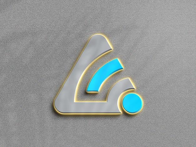 Maqueta de logotipo de neón de luz plateada 3d